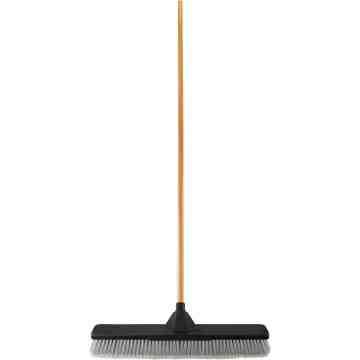 "Push Broom - 24"" MS Bristle - Resin Block & Handle Unassembled - Black, 4/EA"