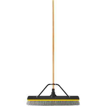 "Push Broom - 24"" MS Bristle w/Squeegee - Block & Handle Unassembled - Black, 4/EA"