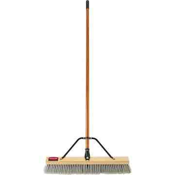 "Push Broom - 36"" Fine PE Bristle - Block & Handle Assembled - Wood, 4/EA"