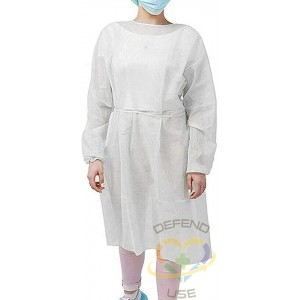 Isolation Gown, Polypropylene Material, 30 Grams, White, One-Size, Each - 1