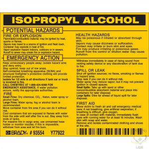 """Isopropyl Alcohol Labels 3.5"""" x 4.5"""", Self-Adhesive, 25/Pack - 2"""