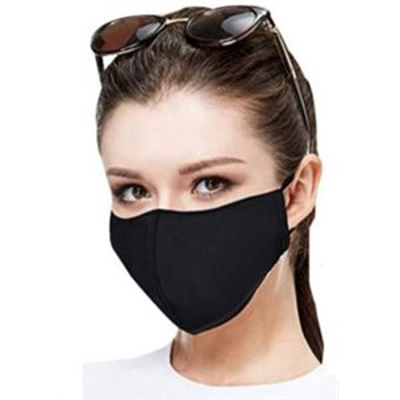 Face Mask, Reusable, Poly/Spandex-One Size, Black, 10/pk