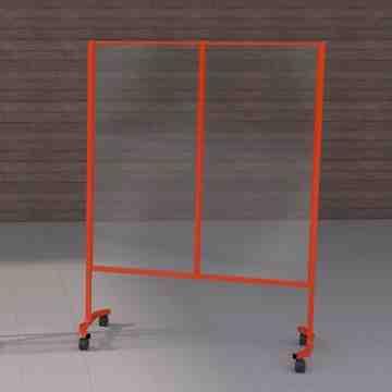 Social Distancing Acrylic Mobile Shield, OSHA, Orange - 1