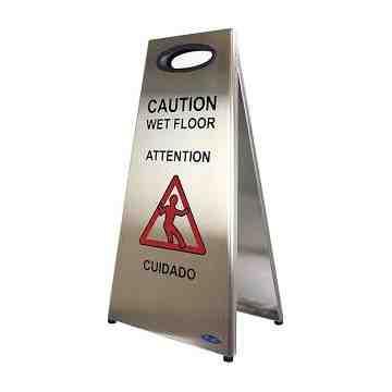 "Caution Sign Wet Floor 24"" - Stainless Steel"