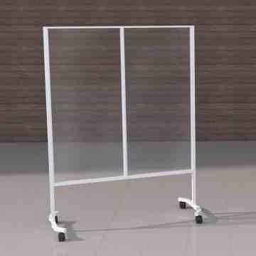 Social Distancing Acrylic Mobile Shield, White Gloss - 1
