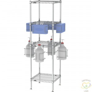 """PPE Sanitizing Station Tree with Shelves, 4 Way Sanitize, 18"""" x 18"""" x 63"""" - 1"""