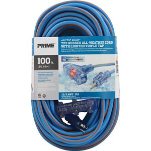 Arctic Blue™ All-Weather TPE-Rubber Lighted End Extension Cords With Primelok® & Primelight®