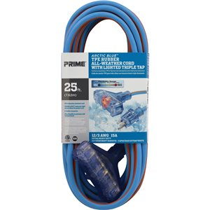 Arctic Blue™ All-Weather TPE-Rubber Lighted End Extension Cords With Primeligh® 25'