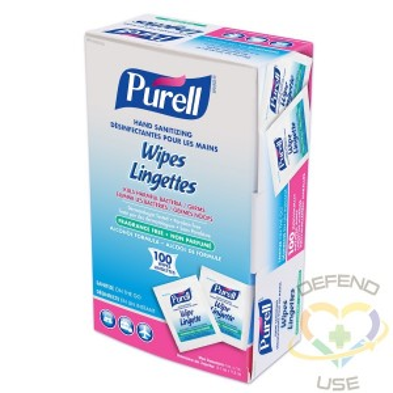 Purell® Sanitizing Hand Wipes100 Count Box, 1/CS - 1